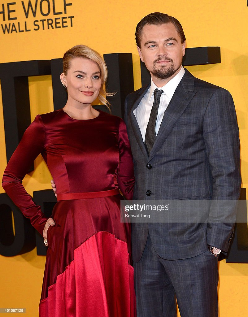 <a gi-track='captionPersonalityLinkClicked' href=/galleries/search?phrase=Margot+Robbie&family=editorial&specificpeople=5781742 ng-click='$event.stopPropagation()'>Margot Robbie</a> and <a gi-track='captionPersonalityLinkClicked' href=/galleries/search?phrase=Leonardo+DiCaprio&family=editorial&specificpeople=201635 ng-click='$event.stopPropagation()'>Leonardo DiCaprio</a> attend the UK Premiere of 'The Wolf Of Wall Street' at the Odeon Leicester Square on January 9, 2014 in London, England.