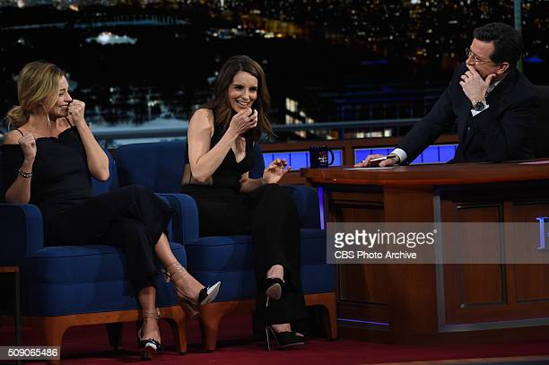Margot Robbie and Tina Fey on The Late Show with Stephen Colbert Sunday Feb 7 2016 on the CBS Television Network