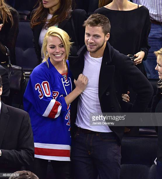 Margot Robbie and Tom Ackerley attend the Arizona Coyotes vs New York Rangers game at Madison Square Garden on February 26 2015 in New York City