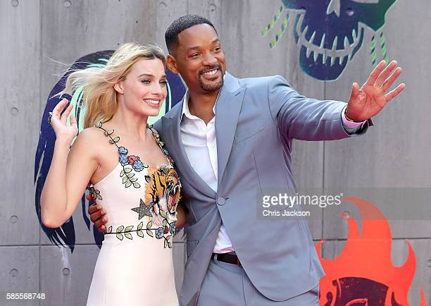 Margot Robbie and Will Smith attend the European Premiere of 'Suicide Squad' at the Odeon Leicester Square on August 3 2016 in London England