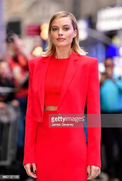 Margot Robbie arrives to ABC's 'Good Morning America' in Times Square on October 11 2017 in New York City