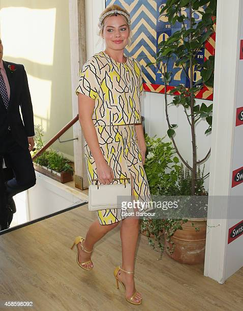 Margot Robbie at the Swisse Marquee on Stakes Day at Flemington Racecourse on November 8 2014 in Melbourne Australia