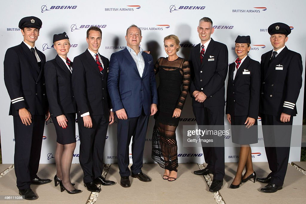 Margot Robbie (C) attends British Airways celebration of the launch of its new Boing 787-9 Dreamliner on its daily London-Abu Dhabi-Muscat service. British Airways hosts a secret island party with Australian actress Margot Robbie, Hollywood star Orlando Bloom and a surprise live performance from chart star and judge of TV's The Voice, Jessie J. at Zaya Nurai Island on November 6, 2015 in Abu Dhabi, United Arab Emirates.
