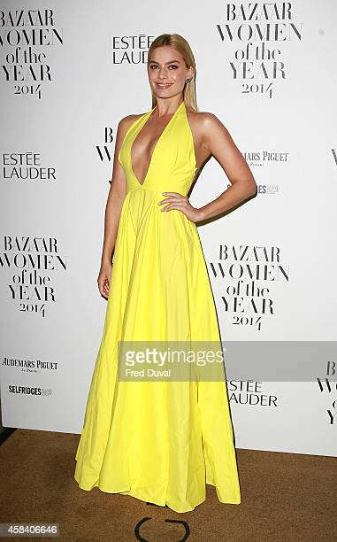 Margot Robbie attends the Harpers Bazaar Women of the year 2014 at Claridge's Hotel on November 4 2014 in London England