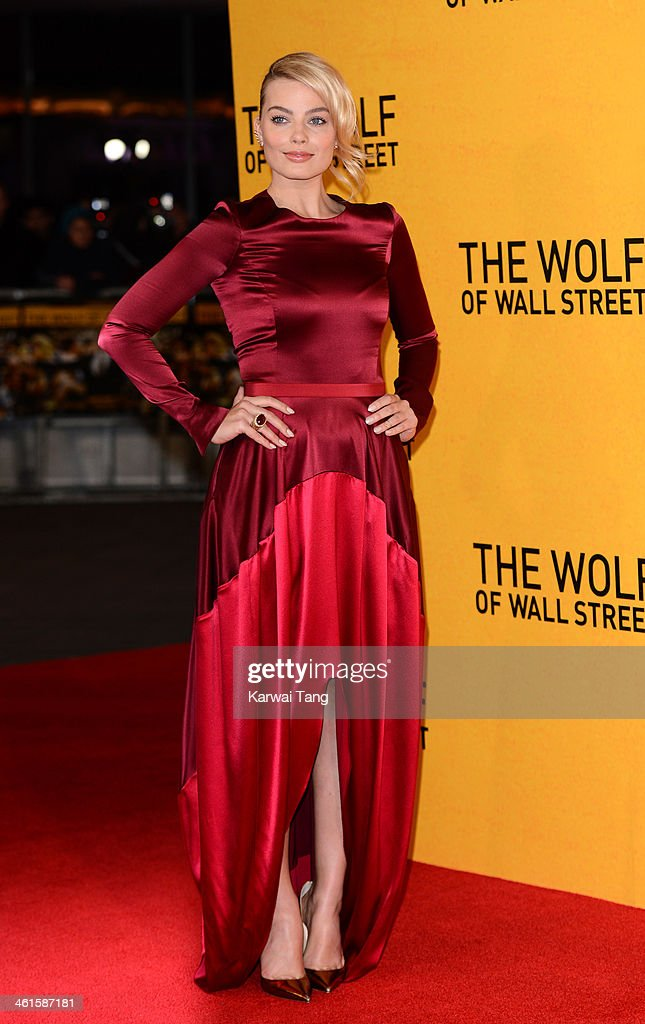 <a gi-track='captionPersonalityLinkClicked' href=/galleries/search?phrase=Margot+Robbie&family=editorial&specificpeople=5781742 ng-click='$event.stopPropagation()'>Margot Robbie</a> attends the UK Premiere of 'The Wolf Of Wall Street' at the Odeon Leicester Square on January 9, 2014 in London, England.