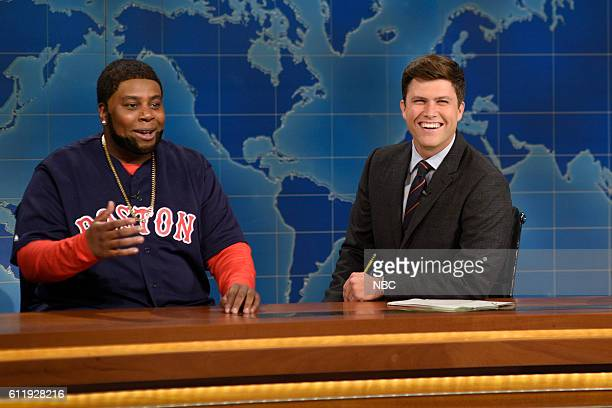 LIVE 'Margot Robbie' Episode 1705 Pictured Kenan Thompson as David Ortiz and Colin Jost during Weekend Update on October 1 2016