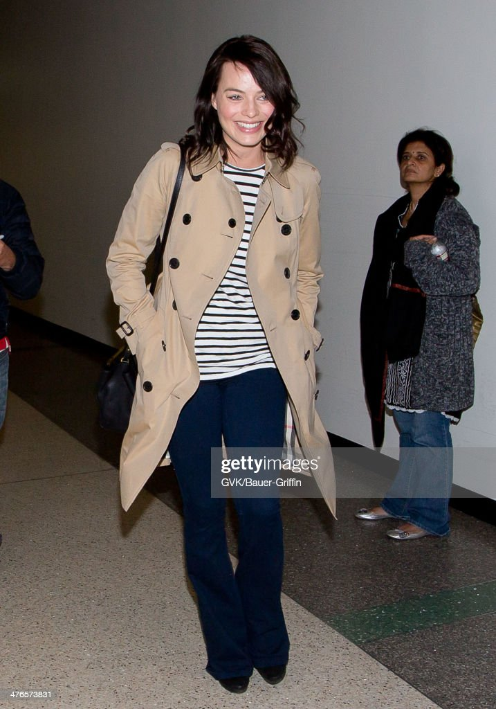 Margot Robbie is seen as she departs out of Los Angeles International Airport on March 03, 2014 in Los Angeles, California.