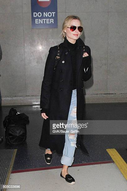 Margot Robbie is seen at LAX on January 14 2016 in Los Angeles California