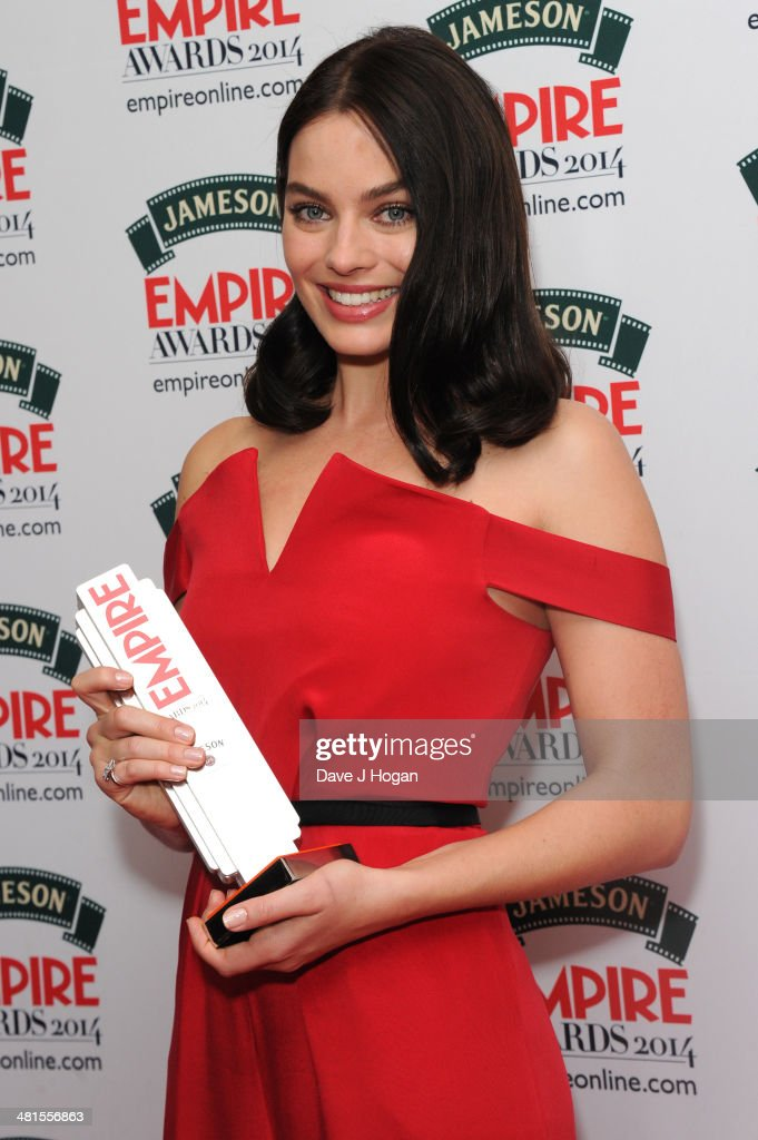 <a gi-track='captionPersonalityLinkClicked' href=/galleries/search?phrase=Margot+Robbie&family=editorial&specificpeople=5781742 ng-click='$event.stopPropagation()'>Margot Robbie</a> poses in the press room at the Jameson Empire Film Awards 2014 at The Grosvenor House Hotel on March 30, 2014 in London, England.