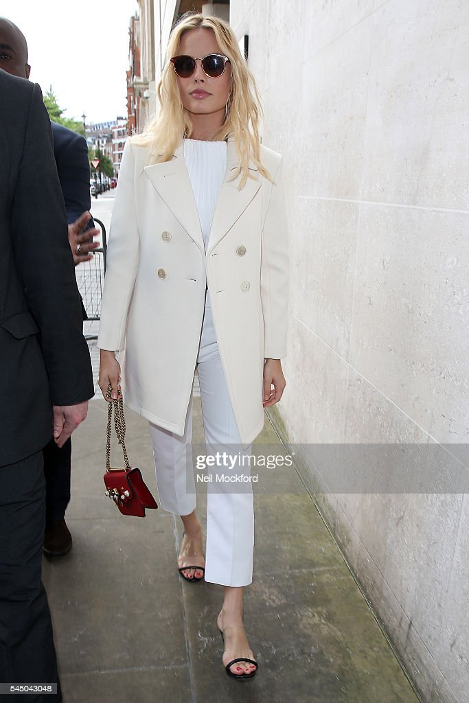 Margot Robbie seen at BBC Radio One promoting her new movie 'The Legend of Tarzan' on July 5 2016 in London England
