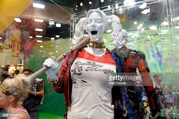 Margot Robbie's Harley Quinn costume from 'Suicide Squad' displayed at ComicCon International 2016 preview night on July 20 2016 in San Diego...