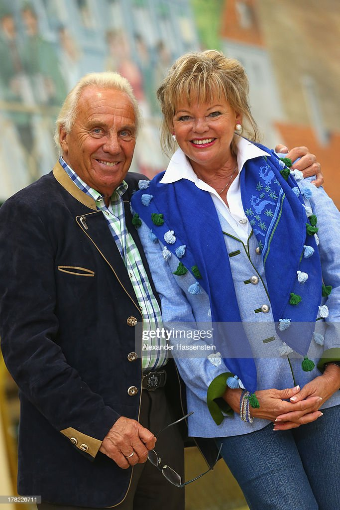 Margot Steinberg attends with Guenter Steinberg the official 2013 Oktoberfest one-liter beer glass presentation three weeks ahead of Oktoberfest on August 27, 2013 in Munich, Germany. Munich Oktoberfest, which opens to the public on September 21, draws millions of visitors and is the biggest beer fest in the world.