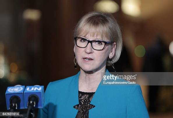 Margot Wallstrom Minister for Foreign Affairs of Sweden and President of the Security Council for January during a Press Conference after the General...