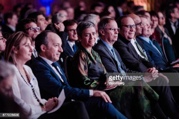 Margrethe Vestager competition commissioner of the European Commission center sits in the audience during the Rendezvous de Bercy economic debate at...