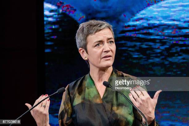 Margrethe Vestager competition commissioner of the European Commission gestures while speaking during the Rendezvous de Bercy economic debate at the...