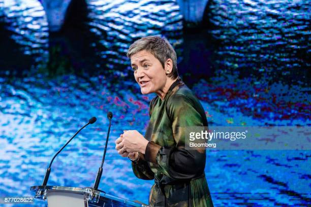 Margrethe Vestager competition commissioner of the European Commission speaks during the Rendezvous de Bercy economic debate at the French Ministry...