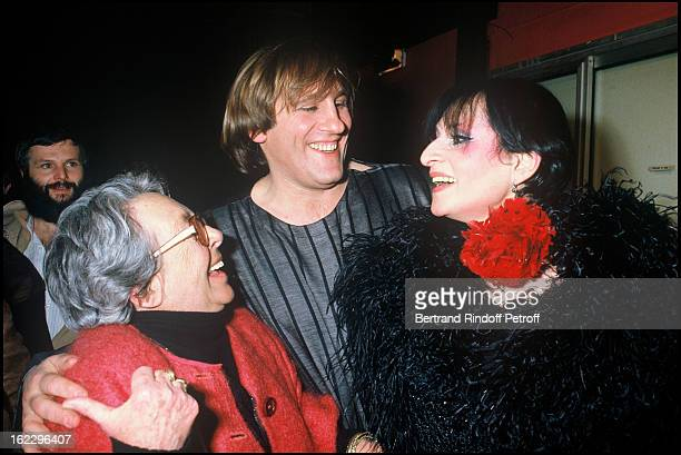 Marguerite Duras singer Barbara and Gerard Depardieu at 'Lily Passion' opening night at the 'Zenith' Paris