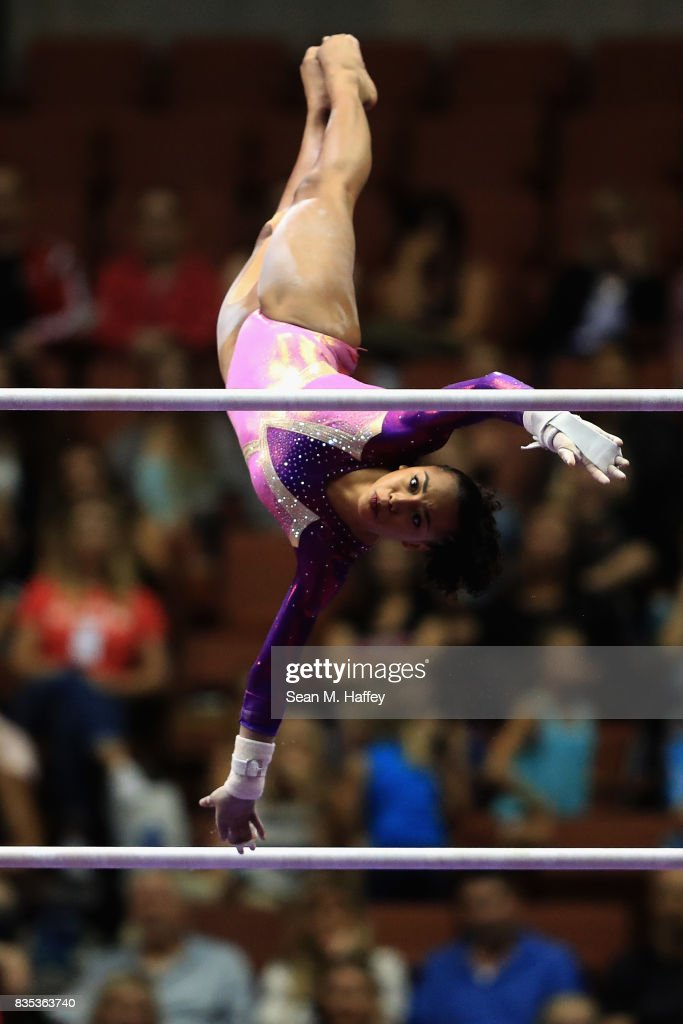 Margzetta Frazier competes on the Uneven Bars during the P&G Gymnastics Championships at Honda Center on August 18, 2017 in Anaheim, California.