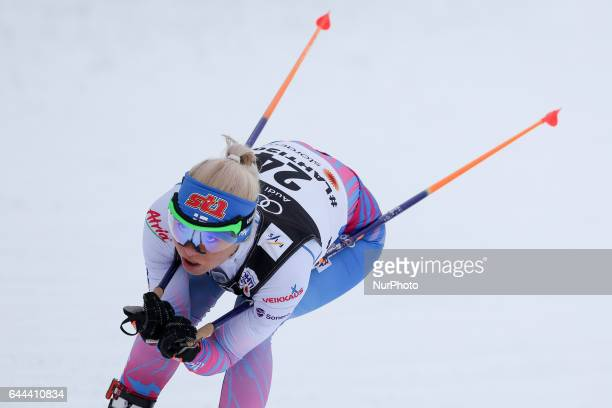 Mari Laukkanen compete in the Women's 14KM Cross Country Sprint first quarter final on February 23 2017 in Lahti Finland
