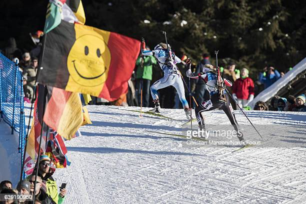 Mari Laukkanen of Finland and Lisa Theresa Hauser of Austria compete during the 15 km women's Individual on January 19 2017 in AntholzAnterselva Italy