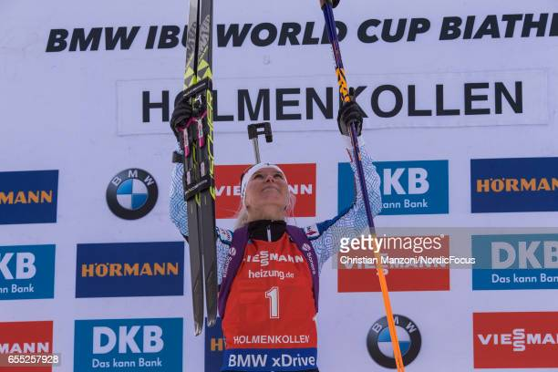 Mari Laukkanen of Finland celebrate after the 10 km women's Pursuit on March 18 2017 in Oslo Norway