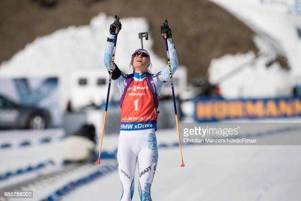 Mari Laukkanen of Finland competes during the 10 km women's Pursuit on March 18 2017 in Oslo Norway