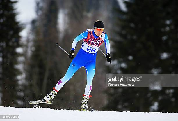 Mari Laukkanen of Finland competes in Qualification of the Ladies' Sprint Free during day four of the Sochi 2014 Winter Olympics at Laura...