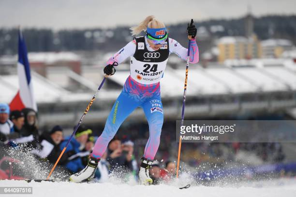 Mari Laukkanen of Finland competes in the Women's 14KM Cross Country Sprint qualification round during the FIS Nordic World Ski Championships on...