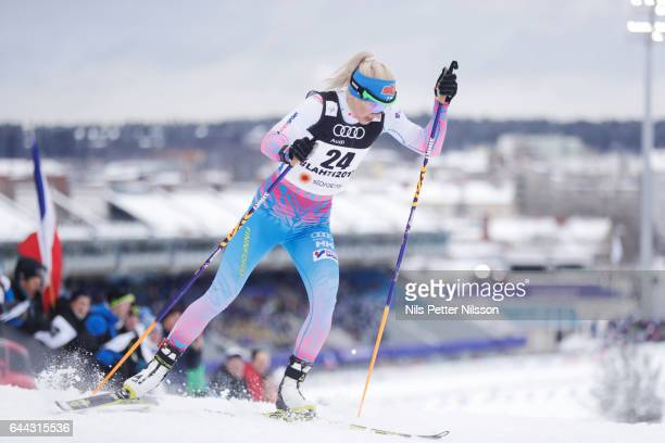 Mari Laukkanen of Finland during the cross country sprint during the FIS Nordic World Ski Championships on February 23 2017 in Lahti Finland