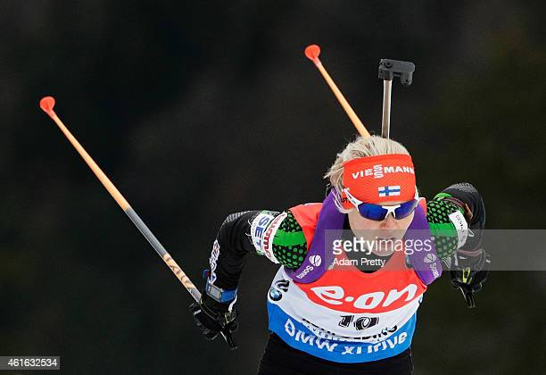 Mari Laukkanen of Finland in action during the IBU Biathlon World Cup Women's Sprint on January 16 2015 in Ruhpolding Germany