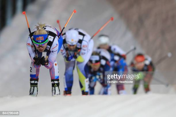 Mari Laukkanen of Finland leads the Women's 14KM Cross Country Sprint second semi final during the FIS Nordic World Ski Championships on February 23...