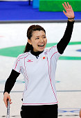 Mari Motohashi of Japan celebrates after defeating Russia 129 during the women's curling round robin game between Japan and Russia on day 10 of the...