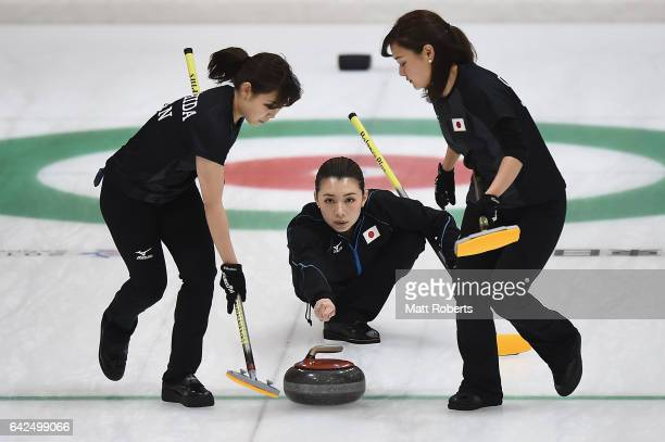 Mari Motohashi of Japan places a stone during the preliminary round of the women's curling on day one of the 2017 Sapporo Asian Winter Games at...
