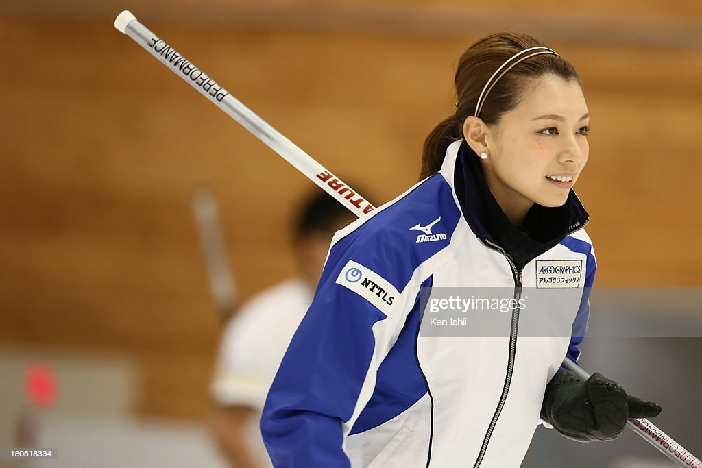 Mari Motohashi of LS Kitami looks on during the last day of qualifier for the Curling Japan Qualifying Tournament at Dohgin Curling Stadium on September 14, 2013 in Sapporo, Japan.