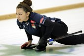 Mari Motohashi of Team Aomori looks on during women's curling Vancouver Olympic qualifying at Aomori City Sports Hall on November 7 2009 in Aomori...