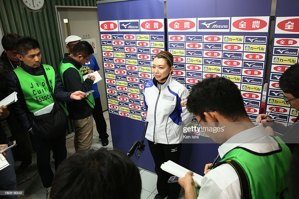 Mari Motohashi speaks to the media after win against Chubu Electric Power Co. during the last day of qualifier for the Curling Japan Qualifying Tournament at Dohgin Curling Stadium on September 14, 2013 in Sapporo, Japan.