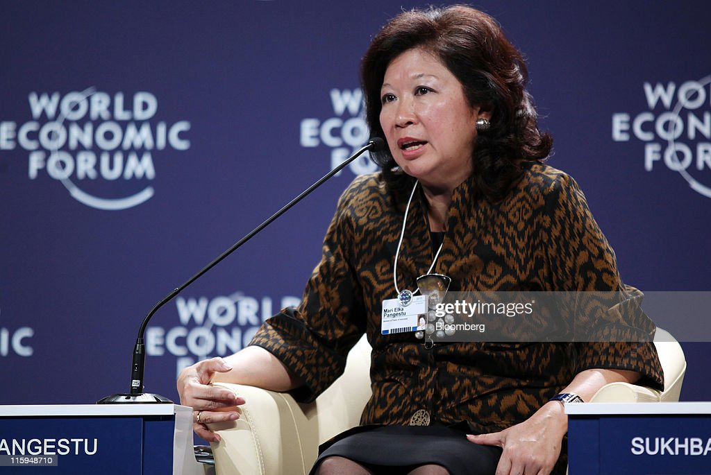 Mari Pangestu, Indonesia's minister of trade, speaks during a session at the World Economic Forum (WEF) on East Asia, in Jakarta, Indonesia, on Sunday, June 12, 2011. The WEF on East Asia takes place June 12 - 13. Photographer: Dimas Ardian/Bloomberg via Getty Images