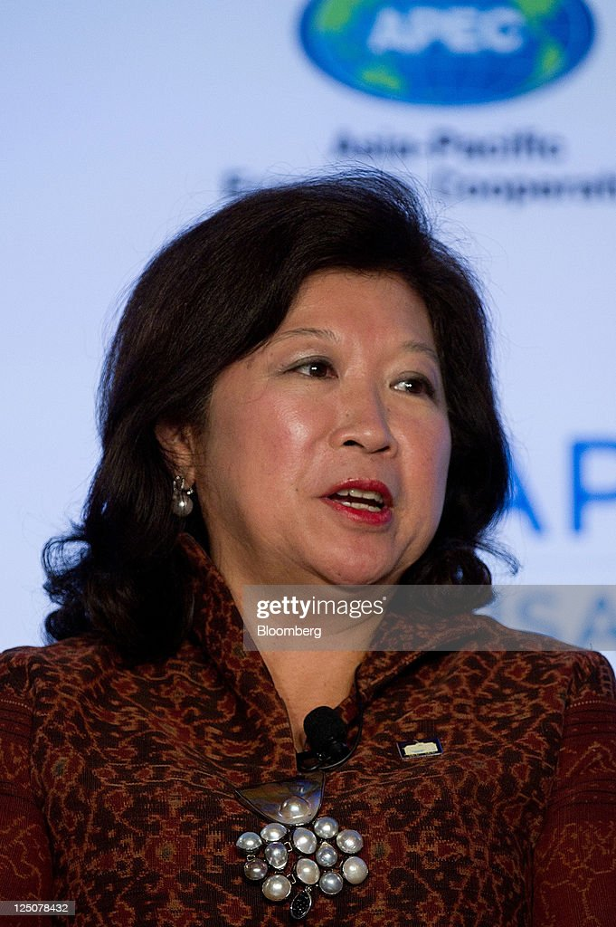 Mari Pangestu, Indonesia's trade minister, speaks during the APEC Women and the Economy Summit in San Francisco, California, U.S., on Thursday, Sept. 15, 2011. The four-day conference, sponsored by the Asia-Pacific Economic Cooperation organization, draws some of the top women in business and government from the U.S. and Pacific Rim nations. Photographer: David Paul Morris/Bloomberg via Getty Images