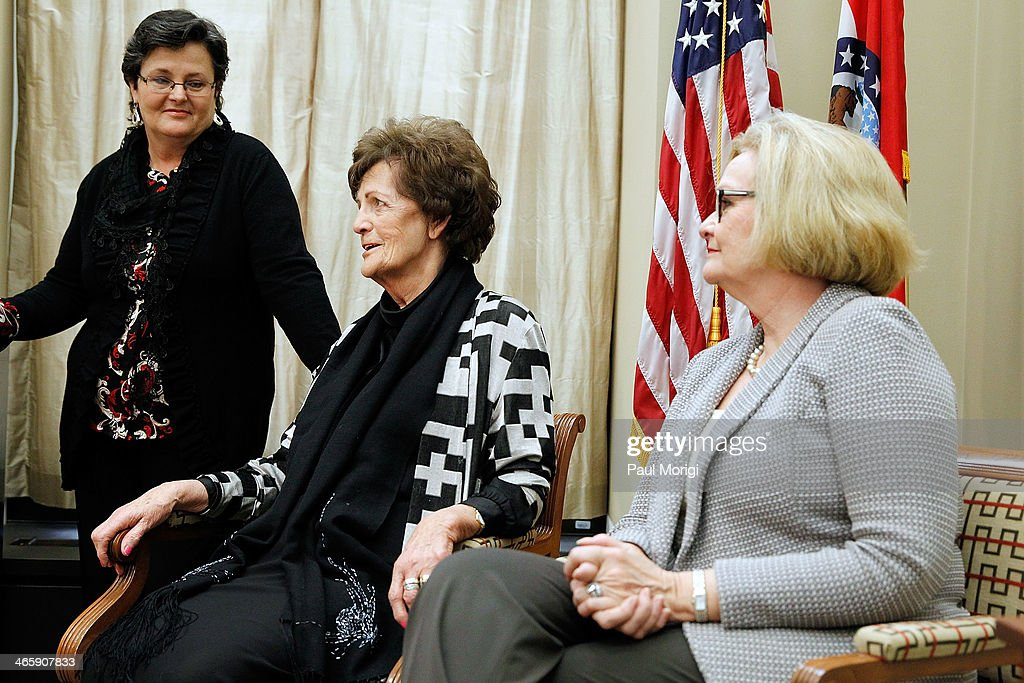 Mari Steed, U.S. Coordinator for the Adoption Rights Alliance, <a gi-track='captionPersonalityLinkClicked' href=/galleries/search?phrase=Philomena+Lee&family=editorial&specificpeople=11489545 ng-click='$event.stopPropagation()'>Philomena Lee</a> and Senator <a gi-track='captionPersonalityLinkClicked' href=/galleries/search?phrase=Claire+McCaskill&family=editorial&specificpeople=3951404 ng-click='$event.stopPropagation()'>Claire McCaskill</a> (D-MO) meet to discuss a new adoption initiative, The Philomena Project, at the Hart Senate Office Building on January 30, 2014 in Washington, DC.