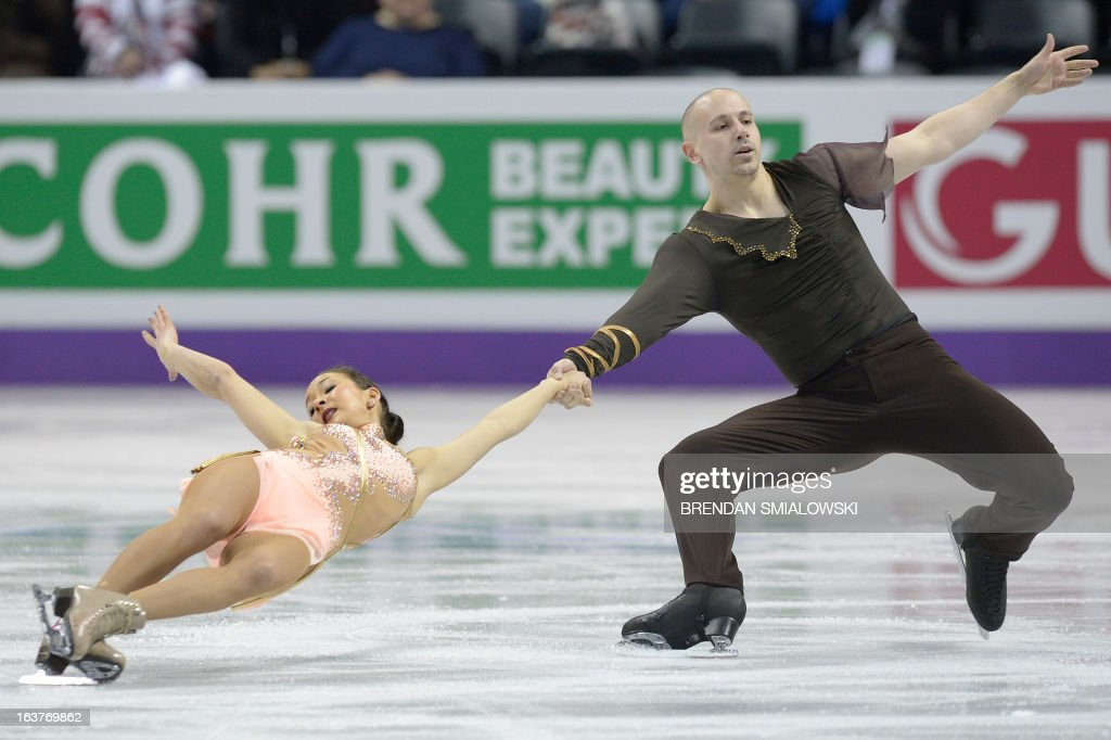 Mari Vartmann and Aaron Van Cleave compete for Germany during the Pairs Free Skating event at the 2013 World Figure Skating Championships March 15, 2013 in London, Ontario, Canada. Skaters from around the globe are competing in the four day event to become the world champions in mens, ladies, pairs and ice dance figure skating. AFP PHOTO/Brendan SMIALOWSKI