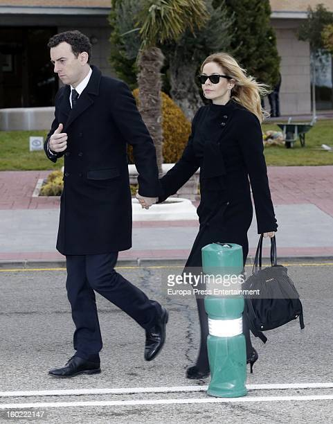 Maria Adanez and David Murphy attend the funeral chapel for actor Fernando Guillen at Tres Cantos chapel on January 18 2013 in Madrid Spain
