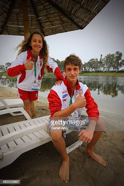 Maria Alejandra De Osma and Rafael De Osma of Peru pose after winning the silver medal during the Final Water Skiing Open Slalom event as part of the...