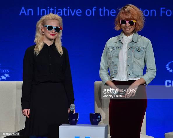 Maria Alekhina and Nadezhda Tolokonnikova of Pussy Riot attend Clinton Global Initiative University at University of Miami on March 7 2015 in Miami...