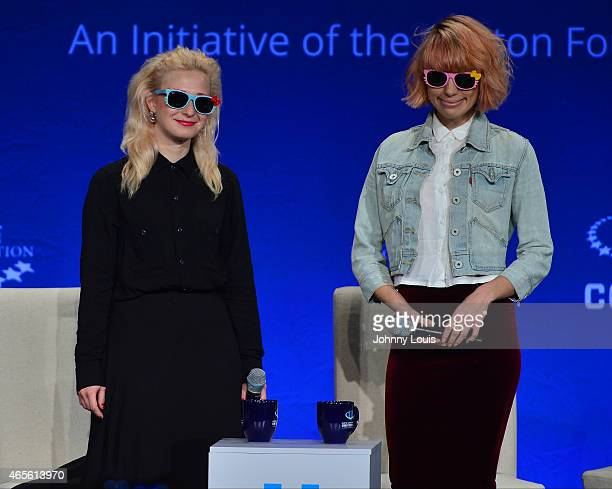 Maria Alekhina and Nadezhda Tolokonnikova of Pussy Riot attend Clinton Global Initiative University at University of Miami on March 7 2015 in Miami...