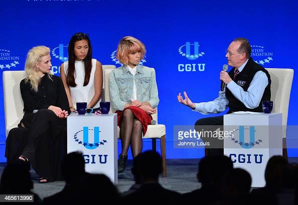 Maria Alekhina Nadezhda Tolokonnikova of Pussy Riot and Paul Farmer attend Clinton Global Initiative University at University of Miami on March 7...