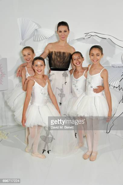Maria Alexandrova poses with young ballerinas at a charity gala evening and performance of the play 'A LifeLong Pas' in honour of Rudolf Nureyev and...