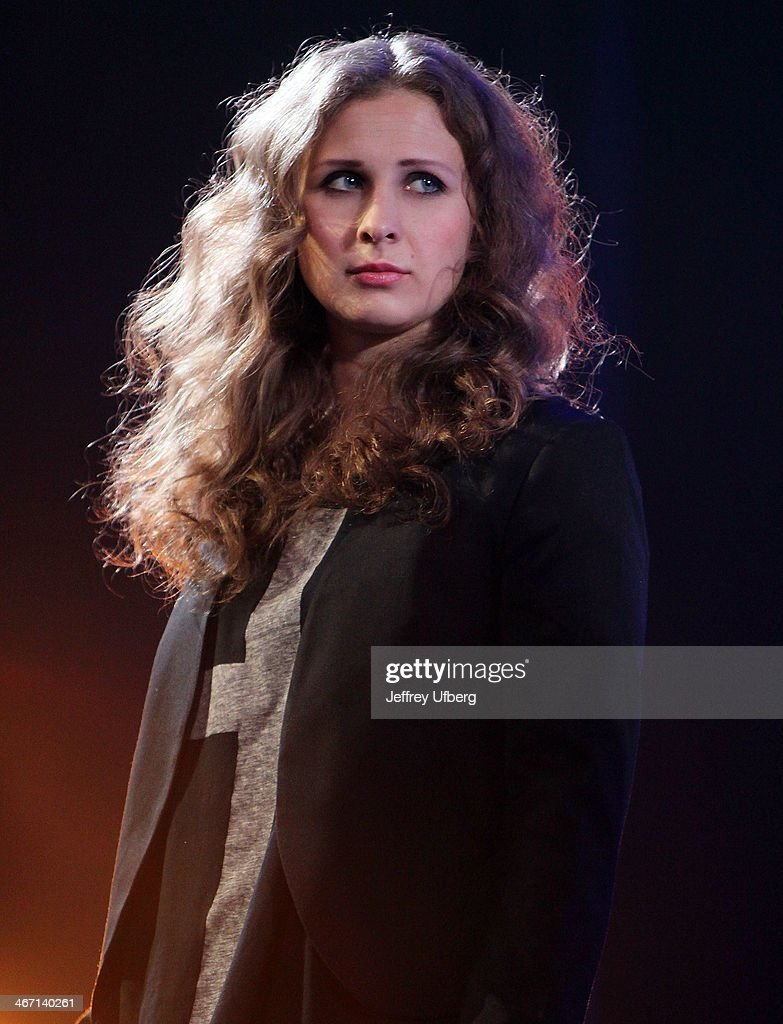 Maria Alyokhina speaks during the Amnesty International 'Bringing Human Rights Home' Concert at the Barclays Center on February 5, 2014 in the Brooklyn borough of New York City.