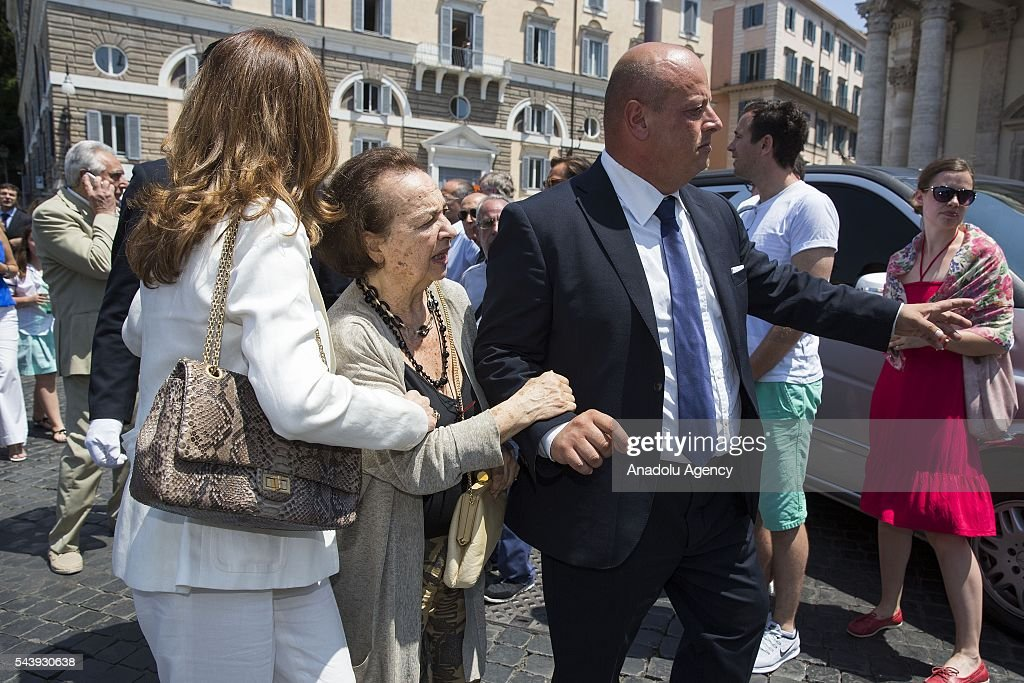 Maria Amato wife of Carlo Pedersoli (Bud Spencer) attends the funeral ceremony of Italian actor Carlo Pedersoli also known as Bud Spencer outside the Santa Maria in Montesanto at Piazza del Popolo in Rome, Italy, 30 June 2016.