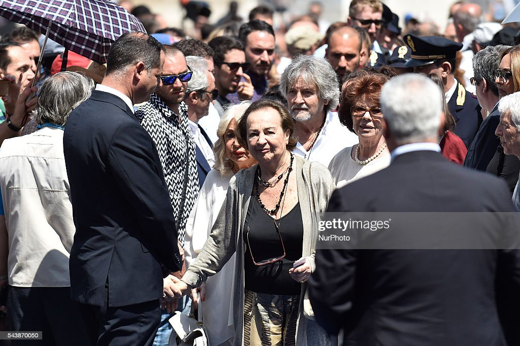 "Maria Amato wife of Carlo Pedersoli (Bud Spencer) attends the funeral of Italian actor Bud Spencer, born Carlo Pedersoli, at the ""church of the artists"", Santa Maria in Montesanto, on June 30, 2016 at Piazza del Popolo in Rome"