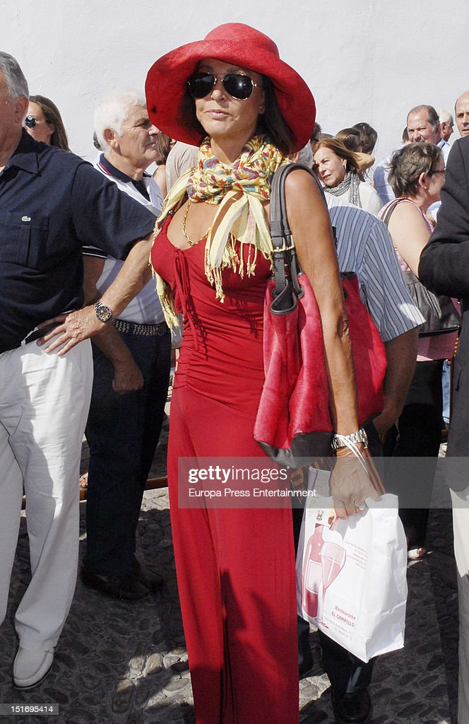 Maria Angeles Grajal attends the 'Goyesca' Bullfights on September 8, 2012 in Ronda, Spain. The bullfight events, linked to The Feria Goyesca (Feria de Pedro Romero), stem from the inter-relationship of three main personae which spanned over three centuries, all of whom have strong connections to Ronda. These are the famous 18th century bullfighter, Pedro Romero; the 18th century Spanish painter, Francisco de la Goya; and also the 20th century bullfighter, Antonio Ordonez, to whom the vision of the Ronda's modern Feria Goyesca can be attributed.